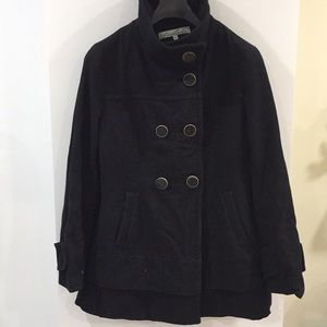 Kenneth Cole Black wool blend pea coat 10
